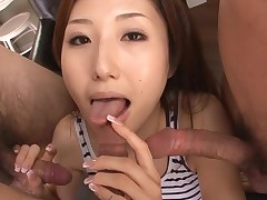 Slut Oriental mama deepthroats large rod and her slit fingered